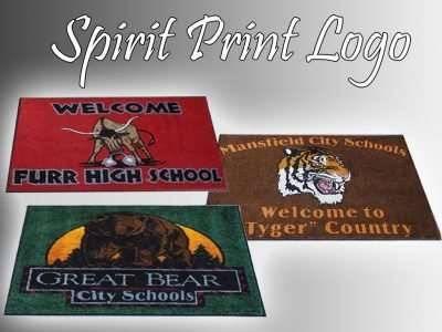 spirit print school logo mat