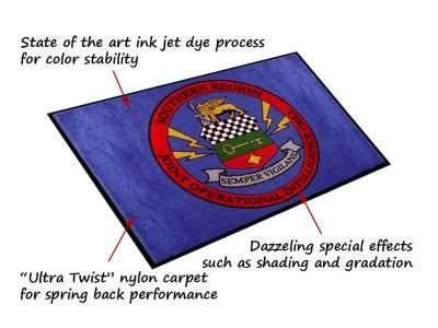 military print logo mat