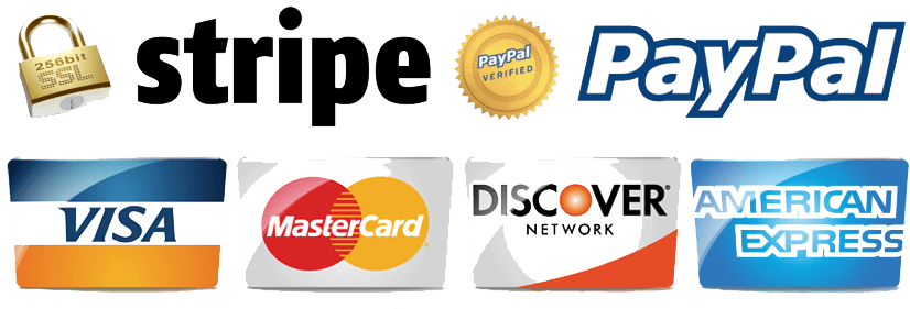 Pay with stripe, PayPal, Visa, MasterCard, Discover, or Amex